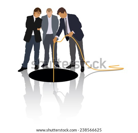 Group of people in suits are exploring the large hole. - stock vector