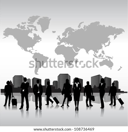 Group of people in the city - stock vector