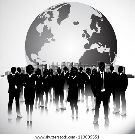 Group of people in the city with globe - stock vector