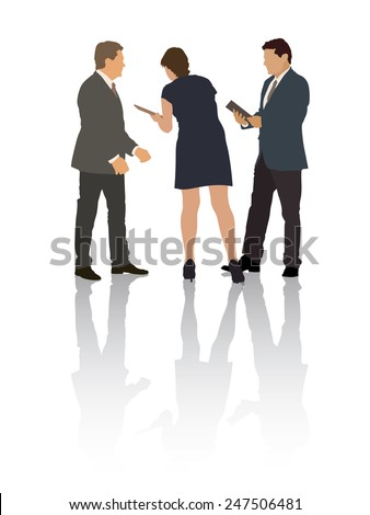 Group of people in the typical business situation - stock vector
