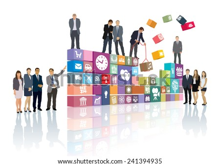 Group of people is developing the web page or software - stock vector