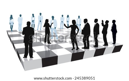 Group of people is playing the strategic business game