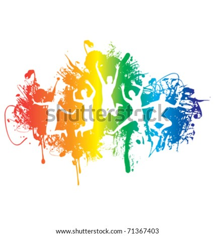 group of people jumping on a ink rainbow splash background - stock vector