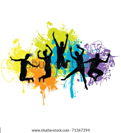 group of people jumping on an ink splash background - stock vector