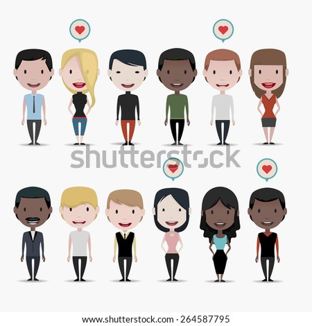 Group of people: Love - stock vector