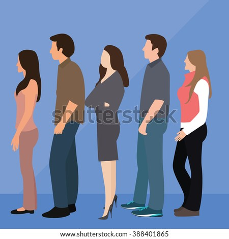 group of people man woman queue line standing waiting  - stock vector