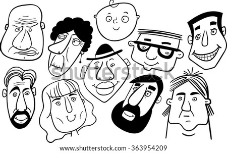 Group of people. Mosaic of cartoon faces in black and white. Vector.