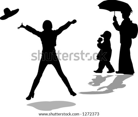 group of people on the street, a girl jumping and a mother and son under umbrella - vector illustration - stock vector