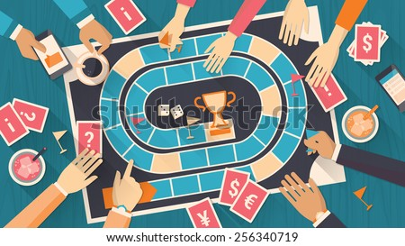 Group of people playing together with a board game - stock vector