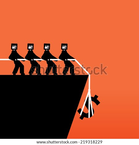 Group of people pulling a rope with a money sign - stock vector