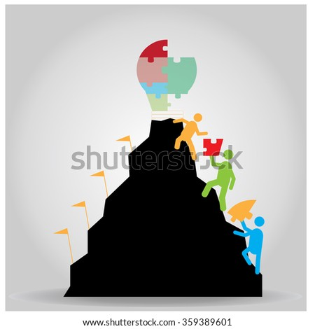 group of people reaching a mountain with a lightbulb