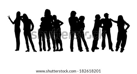 group of people silhouette. Vector - stock vector