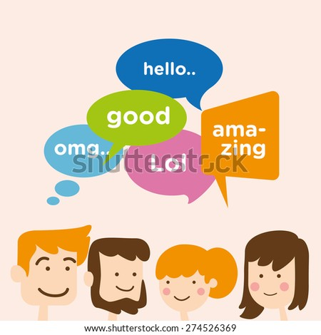 group of people talk with speech bubbles - stock vector