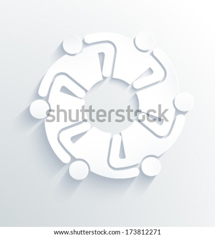 Group of People Team 6 hugging each other. 3D White Label Vector - stock vector