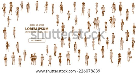 Group of people textured silhouettes on white background. - stock vector