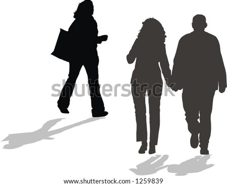 group of people walking, a pair in love and a happy shopper girl - stock vector