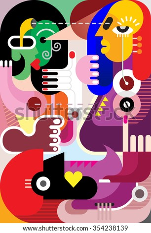 Group of people watching each other. Modern fine art picture, vector illustration. - stock vector