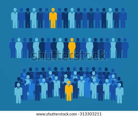 Group of people with a yellow candidate for elective office. Concept of employment and job search - stock vector