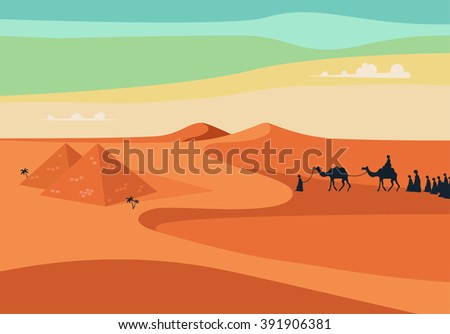 Group of People with Camels Caravan Riding in Realistic Wide Desert Sands in Egypt.  Editable Vector Illustration - stock vector