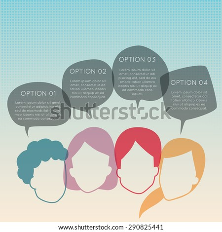 group of people with colorful dialog speech bubbles - stock vector