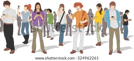 Group of people with smart phones  - stock vector