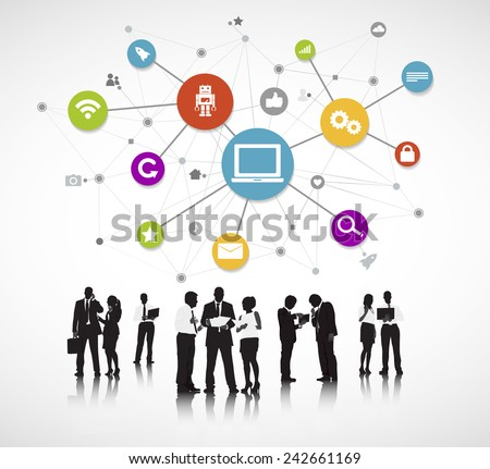 Group of People with Social Media Concept Vector - stock vector