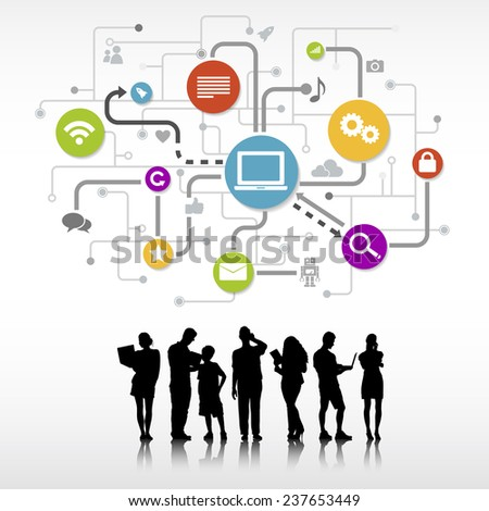 Group of People with Technology Symbol - stock vector