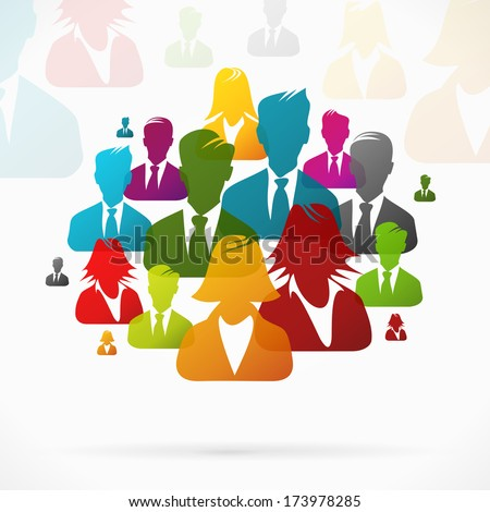 Group of people working together - stock vector