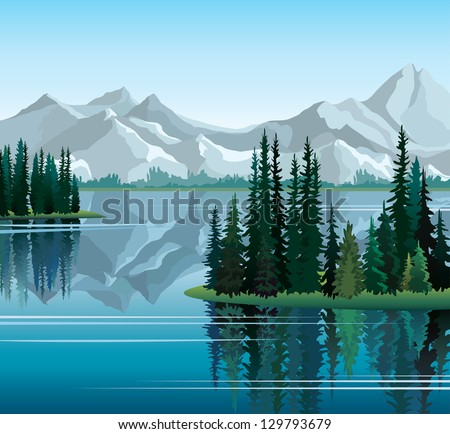 Group of pine trees reflected in calm still water with mountains on a  background - stock vector