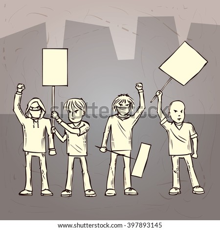 Group of protesters. Hand drawn cartoon vector illustration