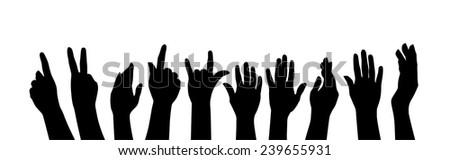 Group of raising hands - stock vector