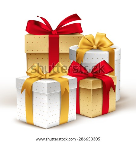 Group of Realistic 3D Colorful Gifts with Colorful Ribbons Wrap with Dotted Pattern for Birthday or Christmas Celebration in White Background. Editable Vector Illustration. - stock vector