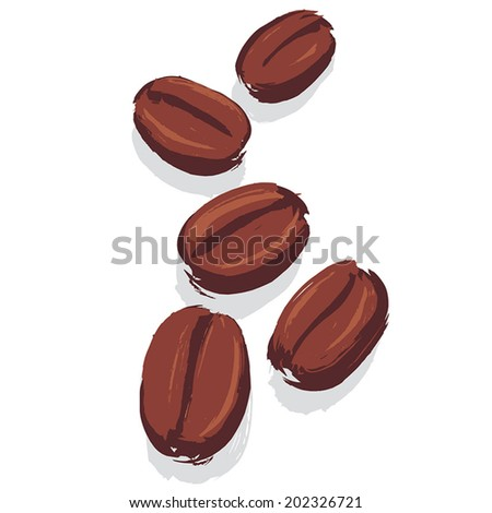 Group of Roasted Coffee Beans on white background, hand drawn with paint brush, flat graphic vector illustration. Fully adjustable & scalable. - stock vector