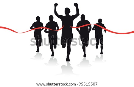 group of runners - stock vector