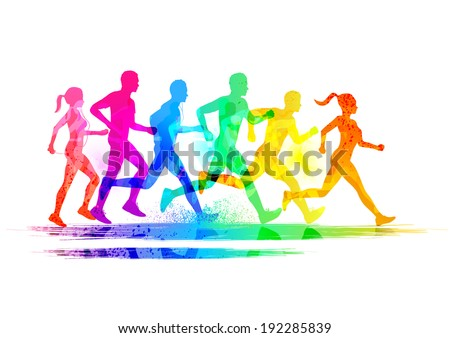 Group Of Runners, men and women running to keep fit. Vector illustration. - stock vector