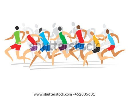 Group of runners racing . Colorful stylized illustration. Vector available.