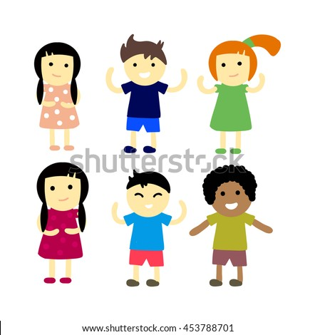 Group of school kids children together. Different nations happy character together concept vector. Little cute primary school children. School kids positive smiling children - stock vector