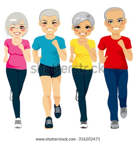 Group of senior runner men and women running together doing exercise to stay healthy - stock vector