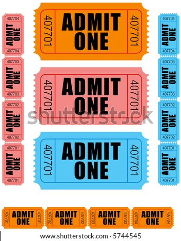 group of sequentially numbered admit one tickets in orange, pink and blue. - stock vector