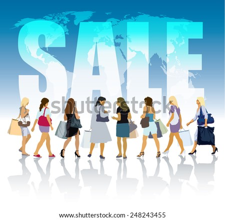 Group of shopping women in front of world map and white large word - SALE