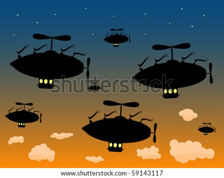 Group of Silhouetted Airships Sail High against dusky sky vector - stock vector