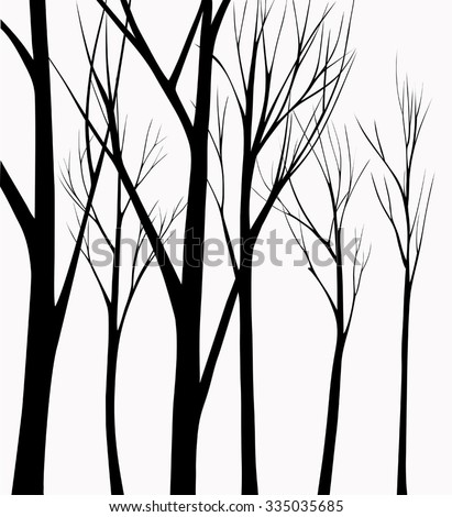 Group of silhouettes trees dark light background