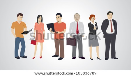 Group of six urban people - stock vector