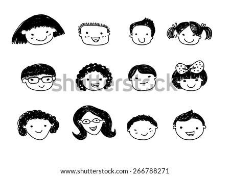Group of sketch kids face set - stock vector