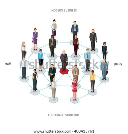 group of standing frontal business people forming a network