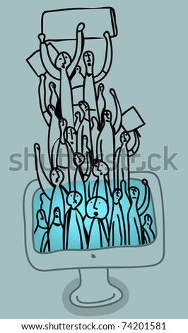 Group of strikers arises from a computer screen - stock vector