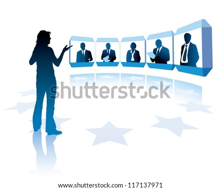 Group of successful businesspeople having a teleconference - stock vector