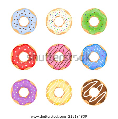Group of sweet tasty colorful donuts variation. Different ring shaped donut collection, multi color set, vector art image illustration, cartoon graphic drawing design, isolated on white background  - stock vector