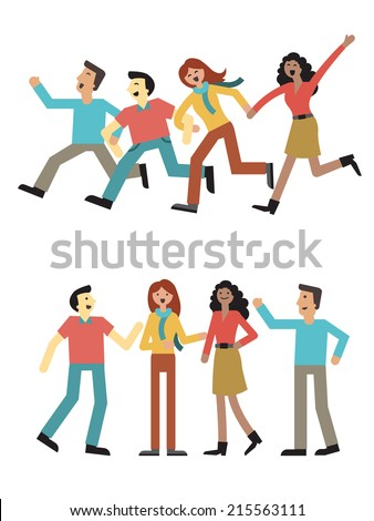 Group of teenagers or university student, multi-ethnic, man and woman enjoy holding hand and running, talking, and happy together. Simple design, isolated on white.  - stock vector