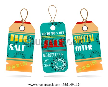 Group of two hanging tags with pattern - stock vector